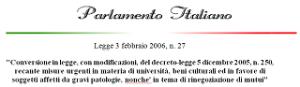 legge 27 del 2006